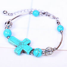Special Jewelry Tibetan Silver Pld Bracelet Turquoise Bead Adjust Cross Bangle