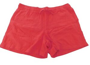 """Nautica Women's Small Shorts Linen Coral Red Pull On 5"""" Inseam"""