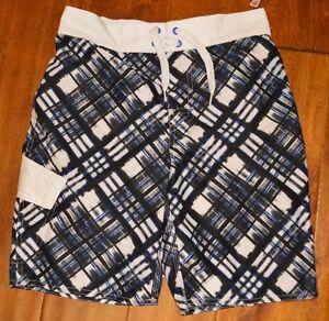 Boy's Arizona Black & Blue Geo Plaid Cargo Swim Shorts Sizes 8, 10-12