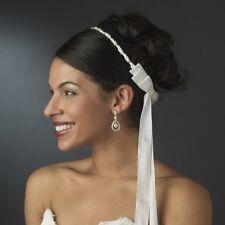 Elegant White or Ivory Greek Orthodox Stefana Wedding Crowns w/ Silver Beading