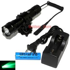 UltraFire 501B CREE Green light LED 1Mode 18650 Tactical Flashlight Charger Set