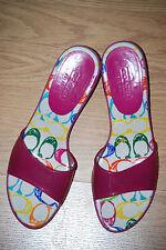 COACH Signature SCRIBBLE signature logo C slide Hot PINK sandals heels mules 9.5