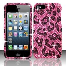 For iPhone 5 5S SE Crystal Diamond BLING Hard Case Phone Cover Hot Pink Leopard