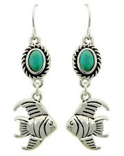 4R Boutique Tropical Coastal Silver Turquoise FISH Dangle Drop Earrings NWT New