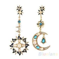Great Choice Star Sun Moon Crystal Rhinestone Stud Dangle Pretty Funky Earrings