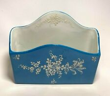Vintage Ceramic Napkin or Letter Holder Hand Painted in France for BONWIT TELLER