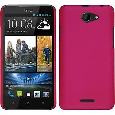 Hardcase HTC Desire 516 rubberized hot pink Cover + protective foils