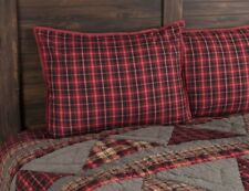 RED BLACK PLAID QUILTED Standard SHAM : COUNTRY CABIN LODGE ANDES PILLOW COVER