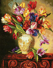 Cross Stitch Kit Gold Collection Colorful Parrot Tulips in Vase #70-35305