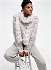 NEW Free People gray Chunky Fuzzy Cable Knit Turtleneck Crop Swing Sweater XS