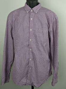 J Crew Mens Dress Shirt Purple White Gingham Button Front 120's 2 Ply Size Large