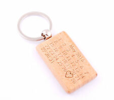 Personalised Wooden Calendar Keyring Anniversary Father'sDay Gift Free Engraved