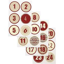 Christmas Stickers Advent Calendar Numbers 1-24 Embellishments  - Nordic Red