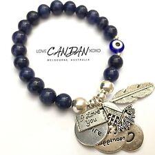 Evil Eye I Love You #1Mama Mum Bracelet Xoxo Inspire Angel Feather Charms Gift