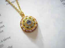 Vintage Dome Necklace with Swarovski Pale Amethyst Peridot & Tanzanite Crystals