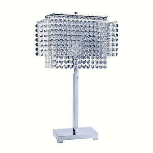 LED LIGHT Faux Crystal Strings Chrome Finish Table Lamp - 28in height