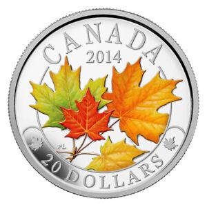Majestic Maple Leaves (02) - 2014 Canada 1 oz Pure Silver Coloured Coin - RCM
