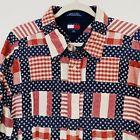 VTG Tommy Hilfiger AMERICAN FLAG patriotic Madras patchwork Shirt Men's XXL
