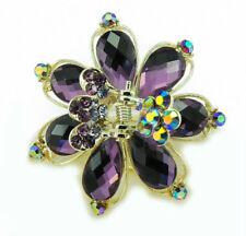 Butterflies Metal Hair Clip Hair Accessory Stone Crystal Vintage Style - Purple