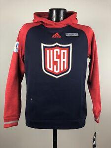 Women's Adidas Climawarm USA Hockey '16 World Cup Navy Hooded Sweatshirt NWT 2XL