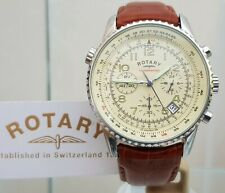 ROTARY Mens watch Cream dial Chronograph  Tan Brown leather strap RRP£190 Boxed