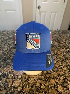 New York Rangers Adidas Cap Official 2017 NHL Draft Stretch Fit Fitted Hat S - M