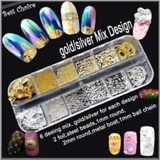 Set Nail Art Metall Plating, Perlen, Blattgold in Gold Silber AP-78