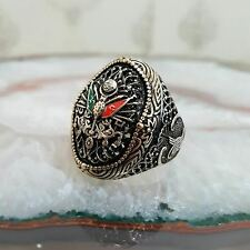 Turkish Ottoman Authentic Gemstone Solid 925 Sterling Silver Men Ring 20.6 gr