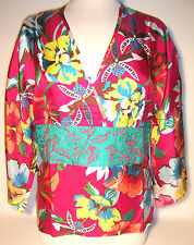 Geblümte locker sitzende Damenblusen, - Tops & -Shirts aus Seide Passform