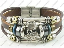Gothic Surfer Brown Leather Bracelet Wristband Womens Mens Skull & Crossbones