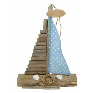 Driftwood Sailing Boat Model 30cm with fabric sail
