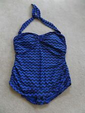 NWT Esther Williams Bathing Beauty 1pc Swimsuit Blue Chevron Print Pin-Up Sz 24W