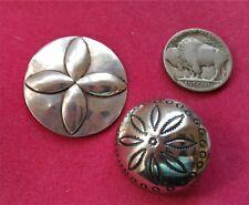 1 Button Metal Art Flat Cross Emblem Silver Concho Concha Button Tribal Patterns