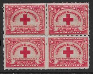 RS286p block of 4 Johnson & Johnson US Private Die Proprietary Revenue Stamp