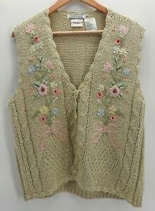 Vintage Bobbie Brooks Sweater Vest Cottage Core Grandma Hand Knit Floral Large