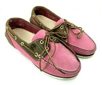 Timberland Womens Size 7 Boat Loafers Shoes Leather Suede Brown & Pink