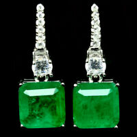 8 X 8 mm. FOREST GREEN DOUBLET EMERALD & WHITE CZ EARRINGS 925 STERLING SILVER