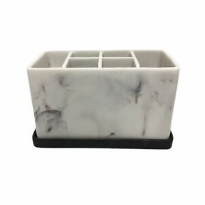 Marble Look Toothbrush And Toothpaste Holder Stand Bathroom Organizer