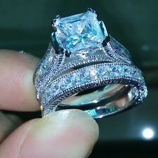 3.5 Ct Princess Cut Aquamarine Gemstone 10K White Gold New Bridal Women Ring Set