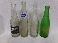 Antique soda pop bottles 7up, Nesbitts Birelays Dr Pepper embossed logos