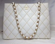 "AUTHENTIC Chanel ""Wild Stitch"" White Double Chain Shopping Tote Bag"