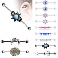 Industrial Barbell Earrings Cartilage Piercing 14G Surgical Steel Ear Piercing
