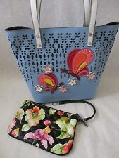 SHARIF PERFORATED COLLAGE BLUE TOTE AND WRISTLET SET PURSE  - NWT