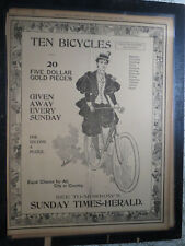 Bicycle History Newspaper 1895 POSTER PAGE CHICAGO GIRL BIKER $5 GOLD PUZZLE