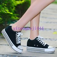 Womens Hidden Wedge Canvas Platform Sneakers High-Top Lace Up Trainers Shoes New