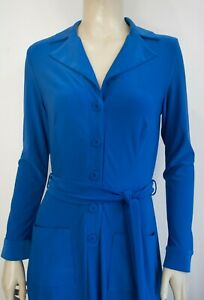 LEONA EDMISTON Frocks Dress in cobalt blue, self sash, pockets! Sz 1 10 12