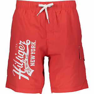 TOMMY HILFIGER Red & White Logo Swim Shorts. Size XL.