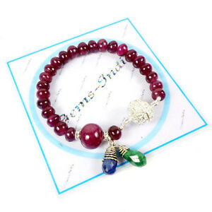 200 CT+ Natural Ruby Round Cab Beaded Bracelet W Magnetic Silver Carved Lock 8""