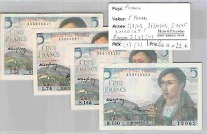 LOT 4 BILLETS FRANCE - 5 Francs - 5/8/43 - 25/11/43 - 5/4/45 - 30/10/47