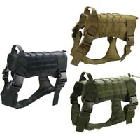 Tactical K9 Training Dog Harness Military Police- Adjustable Molle Nylon Vest US
